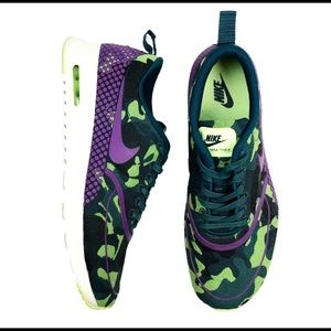 Nike Air Max Thea Sz 9 Camo Green Purple Sneakers
